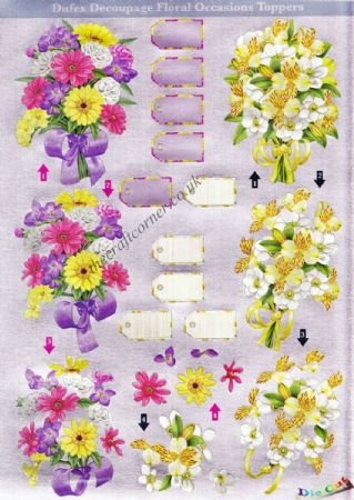 Bouquet of Flowers Die Cut 3d Decoupage Sheet From Dufex